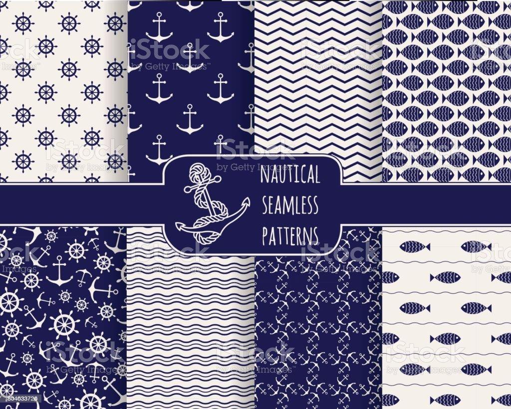 Seamless nautical patterns set vector art illustration