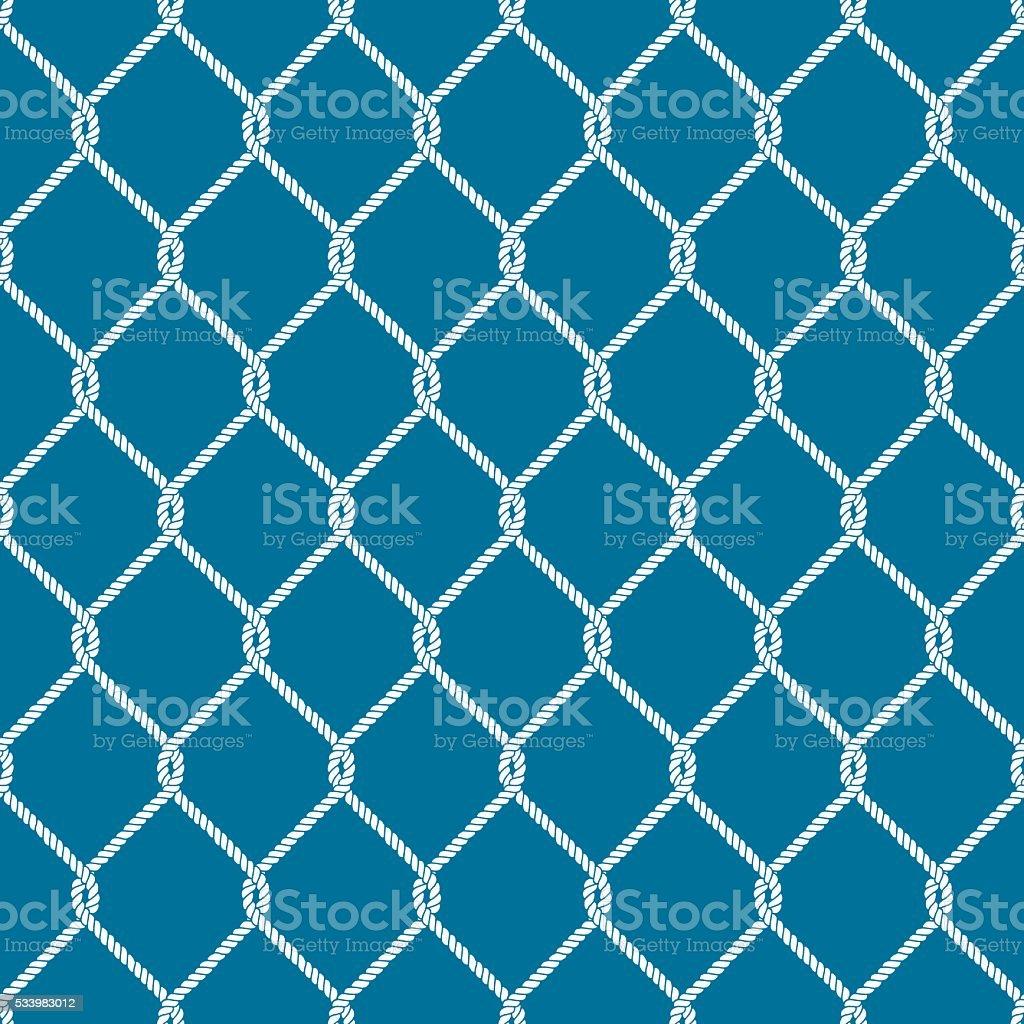 Seamless nautical rope knot pattern vector art illustration