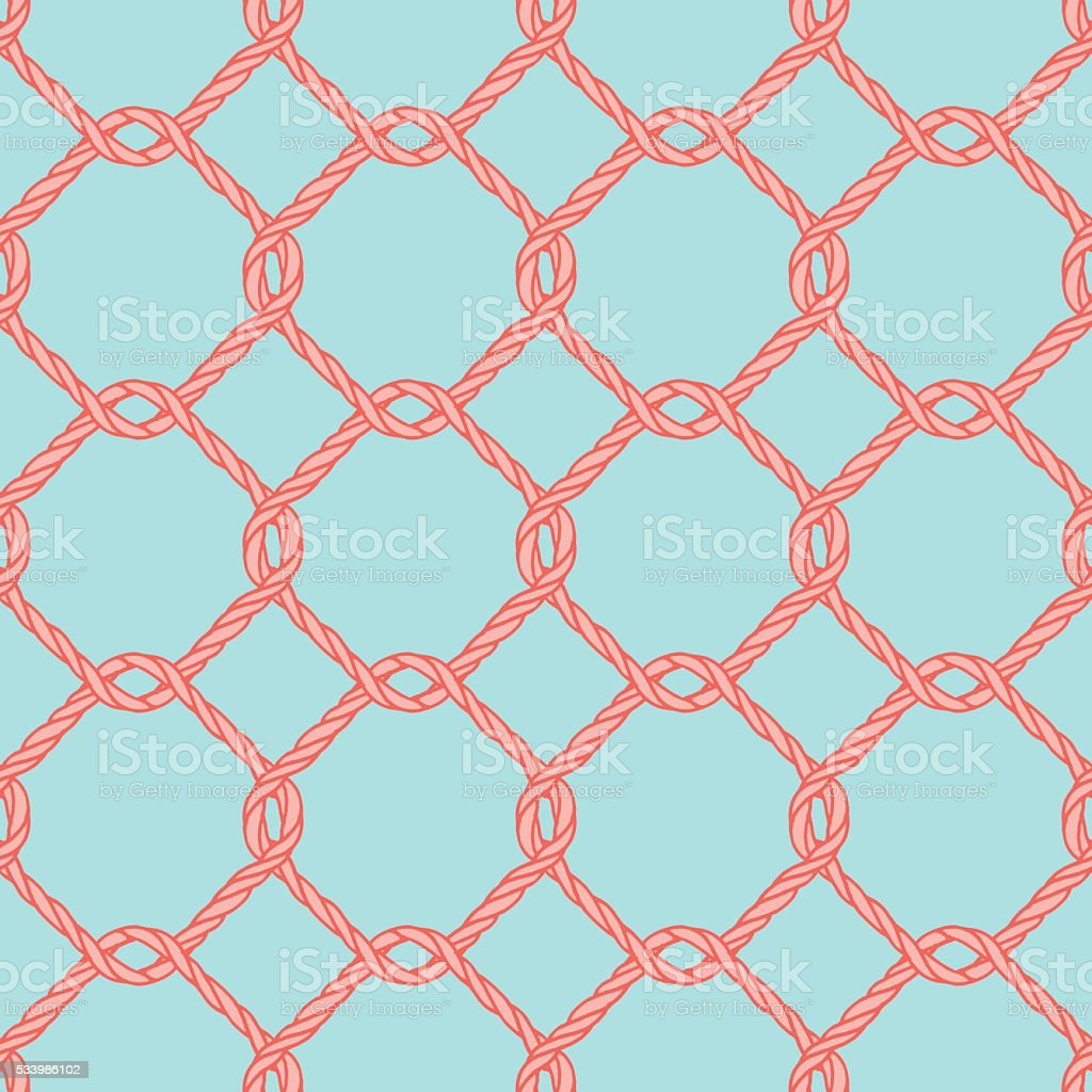 Seamless nautical rope knot pattern. vector art illustration