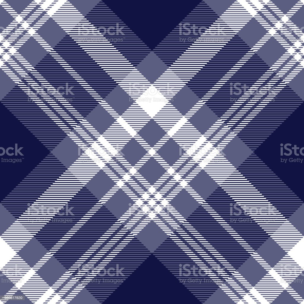 Seamless nautical style plaid pattern in faded purple, navy blue and white. vector art illustration
