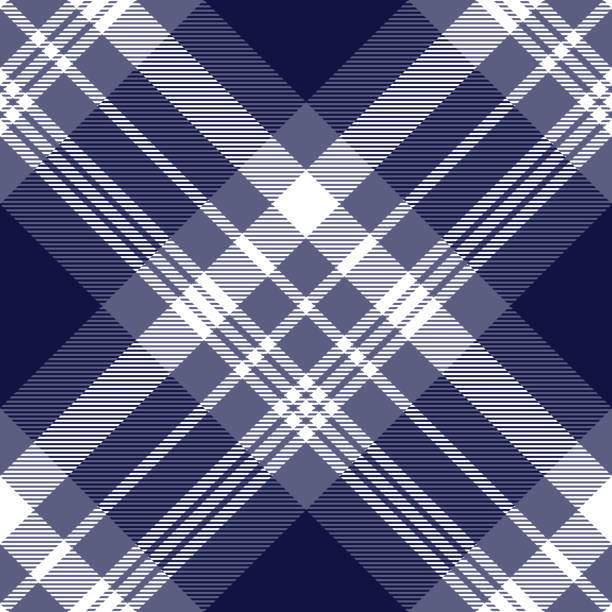 seamless nautical style plaid pattern in faded purple, navy blue and white. - preppy fashion stock illustrations, clip art, cartoons, & icons