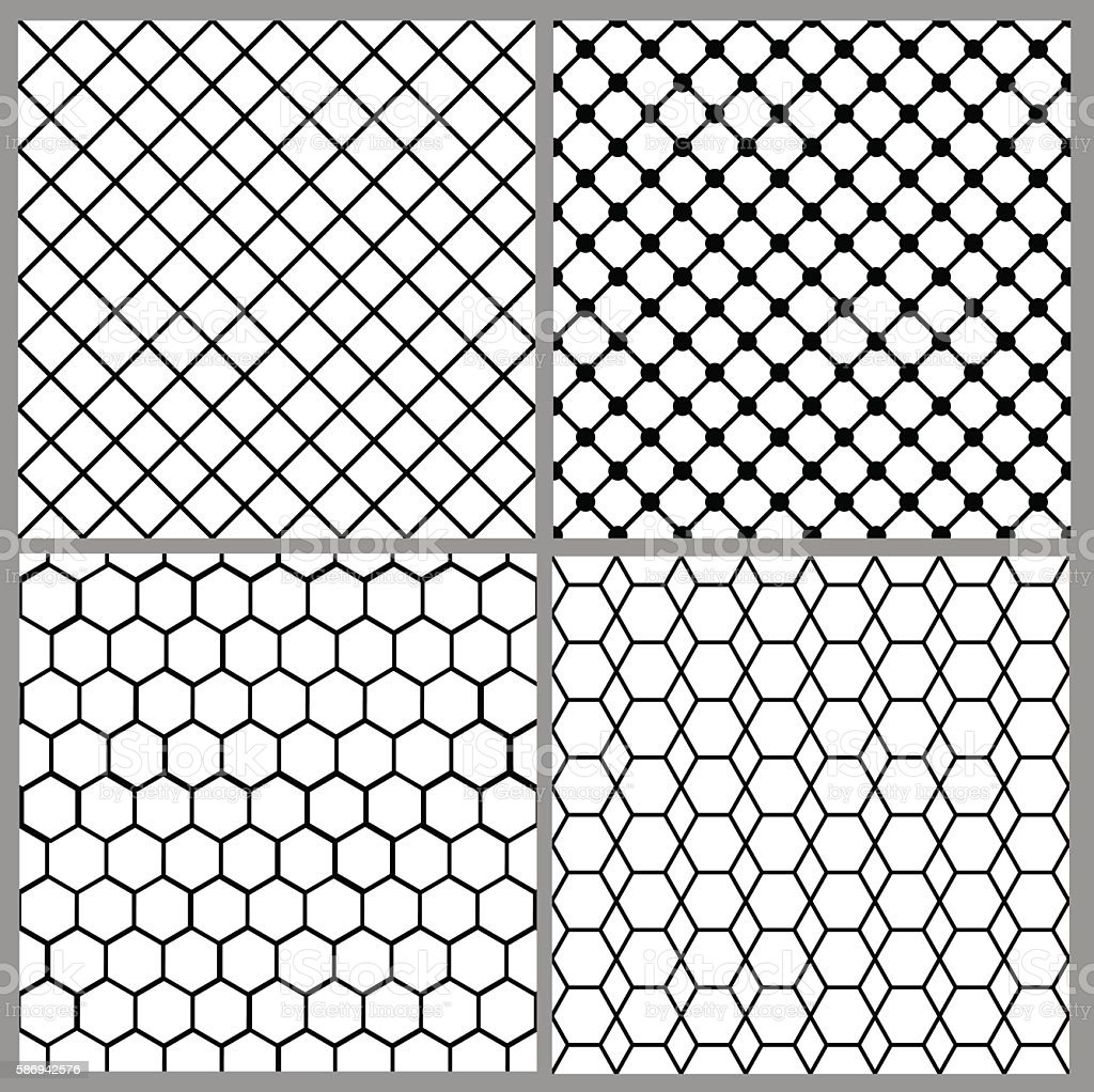 Seamless Net Patterns Stock Vector Art & More Images of Abstract ...
