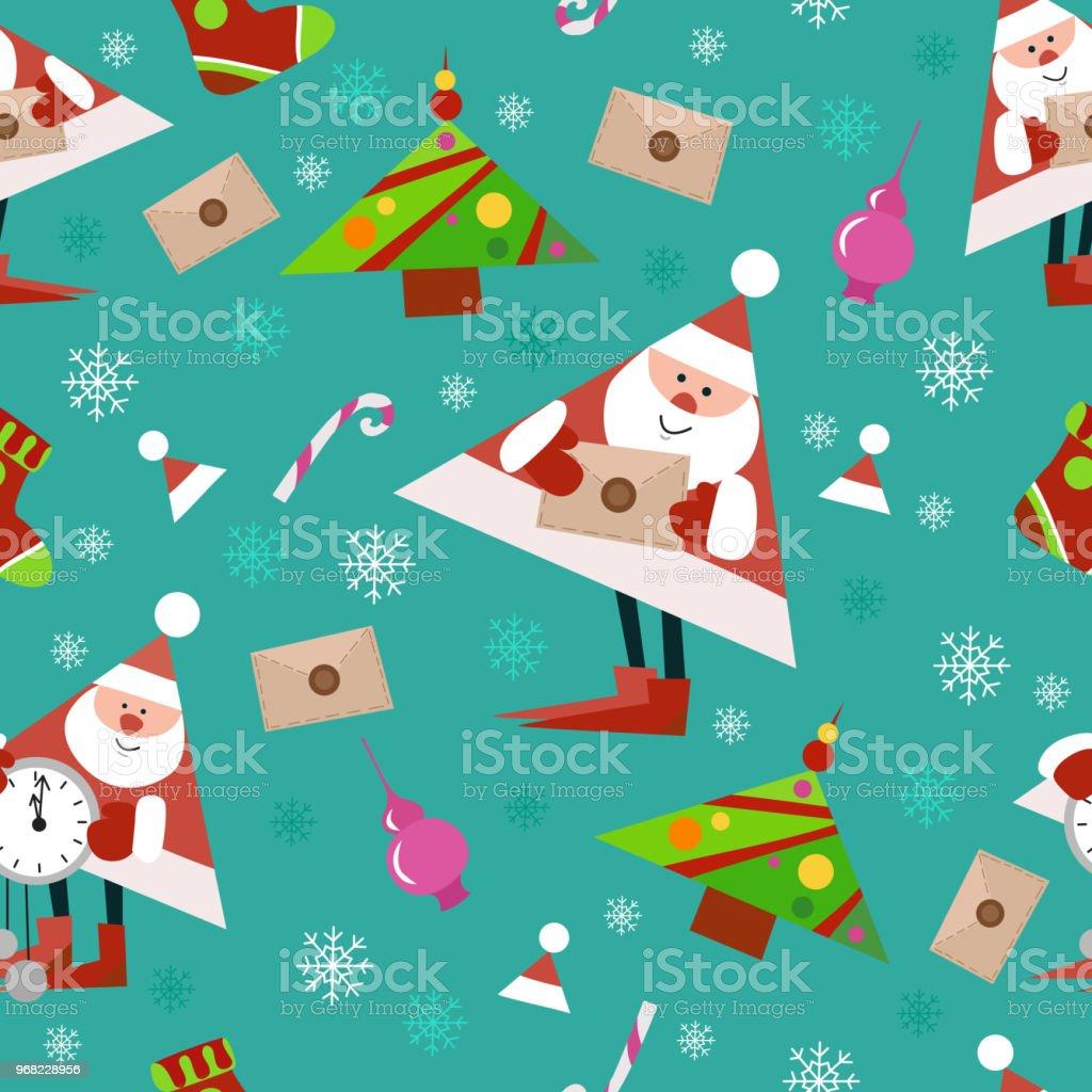 Neujahrmusterdesign Auf Grünem Hintergrund Kandis Weihnachtsbaum Und ...