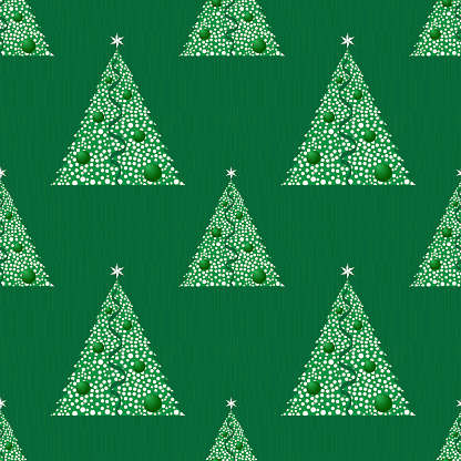 Seamless New Years pattern. Abstract Christmas trees. Stylized drawing on fabric and wrapping paper. 2022