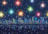Horizontal Seamless Landscape, Holiday Urban Background, Night City with Skyscrapers, Fireworks and Snowflakes in Starry Sky, Reflecting in Blue Sea. Eps10, Contains Transparencies. Vector