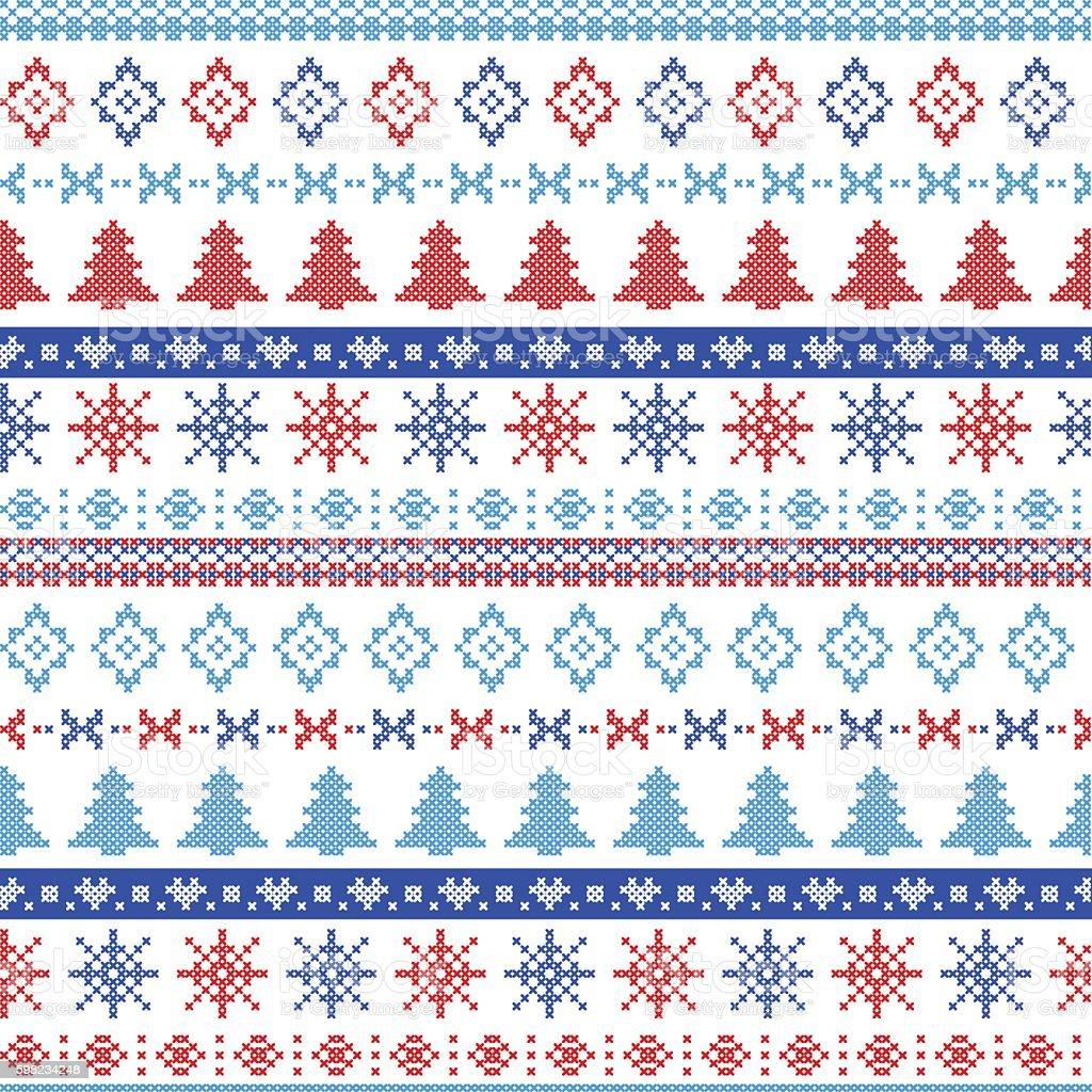 Seamless Nordic Christmas Pattern in red, blue, light blue ilustração de seamless nordic christmas pattern in red blue light blue e mais banco de imagens de arte e artesanato - assunto royalty-free