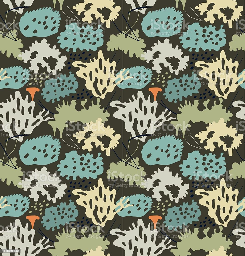 Seamless nordic floral pattern with reindeer moss vector art illustration