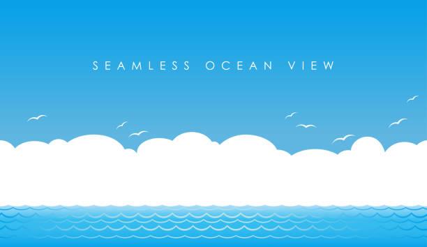 シームレスなオーシャン ビュー、ベクトル図です。水平方向に繰り返し。 - 海点のイラスト素材/クリップアート素材/マンガ素材/アイコン素材