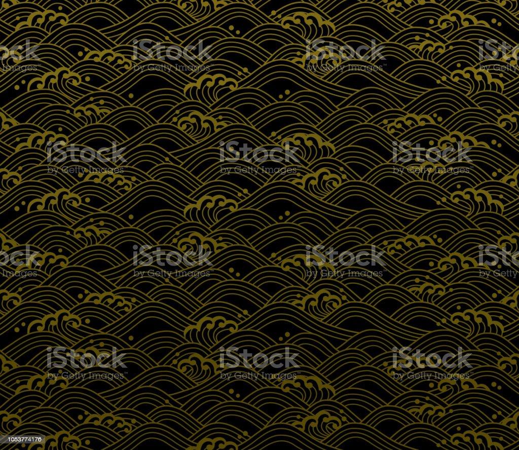 シームレスな海洋波のパターン。 ベクターアートイラスト