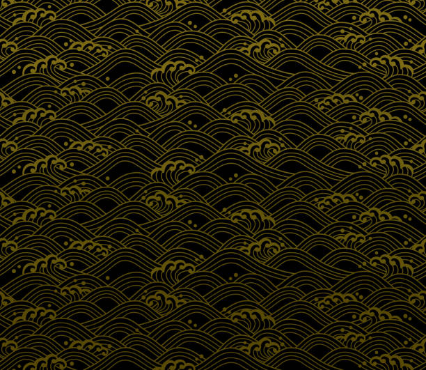 seamless ocean wave pattern. background of Japanese wave illustration. japanese culture stock illustrations