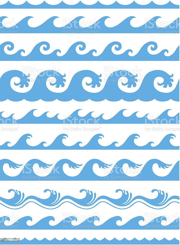seamless ocean wave pattern royalty-free stock vector art