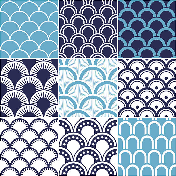 seamless ocean wave pattern - scallop stock illustrations, clip art, cartoons, & icons