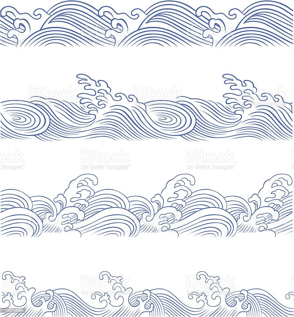 seamless ocean wave vector art illustration