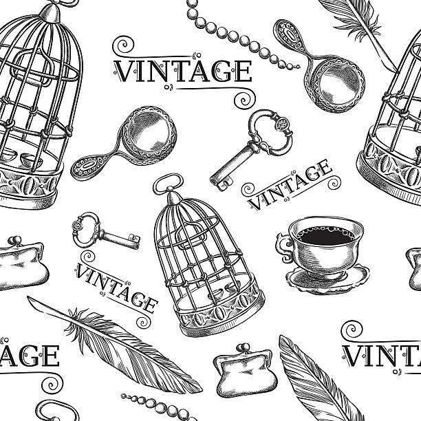illustrations, cliparts, dessins animés et icônes de seamless of ancient things,birdcage , key, pen, cup - dessin cage a oiseaux