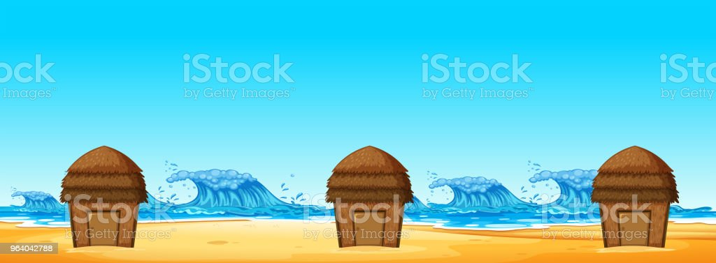 Seamless of Beach Hut - Royalty-free Architecture stock vector