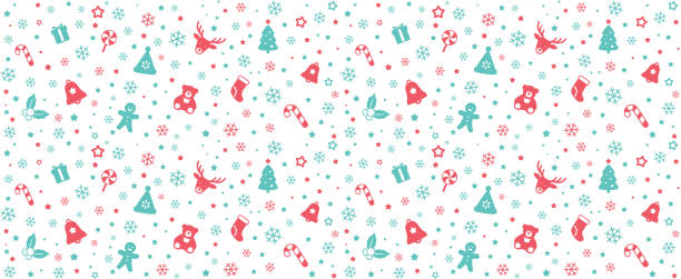 seamless of christmas pattern, vector illustration seamless of christmas pattern, vector illustration christmas teddy bear stock illustrations