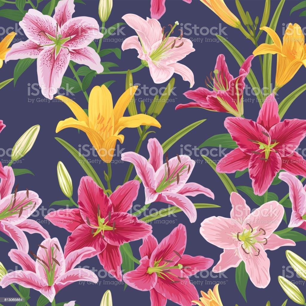 Sans soudure de fleur de Lys colorés sur violet foncé en arrière-plan. - Illustration vectorielle