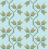 Floral cross stitch. Seamless wallpaper pattern. Imitation of the cross stitch.