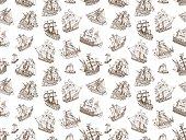 Seamless Old Sailing Ships Doodles