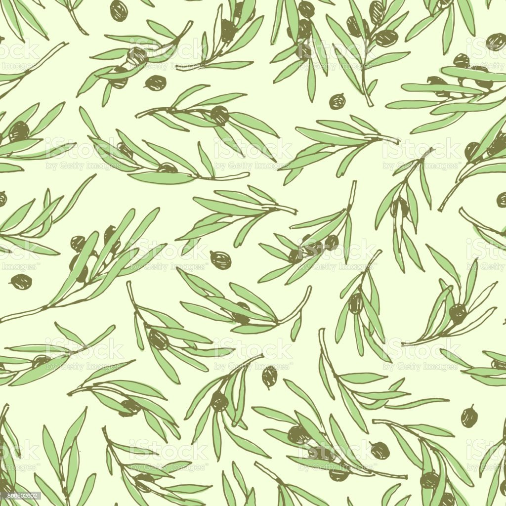 Seamless Olive Branch Pattern Hand Drawn Design Simple Background ...