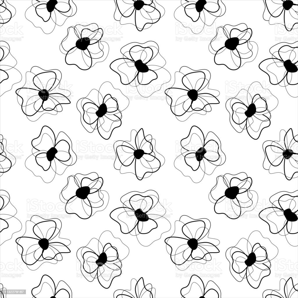 Seamless one line art flower pattern