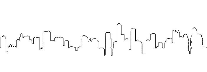 Seamless one line cityscape silhouette