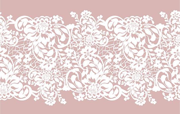 ilustrações, clipart, desenhos animados e ícones de padrão de renda sem costura openwork com belas flores rosas - bordas florais