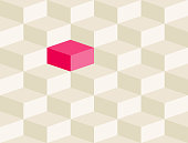 Optical illusion blocks. Seamless pattern.
