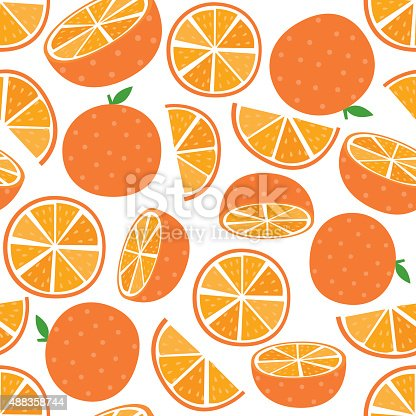 Seamless Vector Orange fruit with leaf and slice. Vector illustration. EPS 10 & HI-RES JPG Included