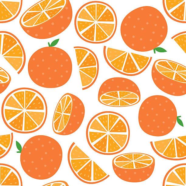 seamless orange fruit - orange color stock illustrations, clip art, cartoons, & icons