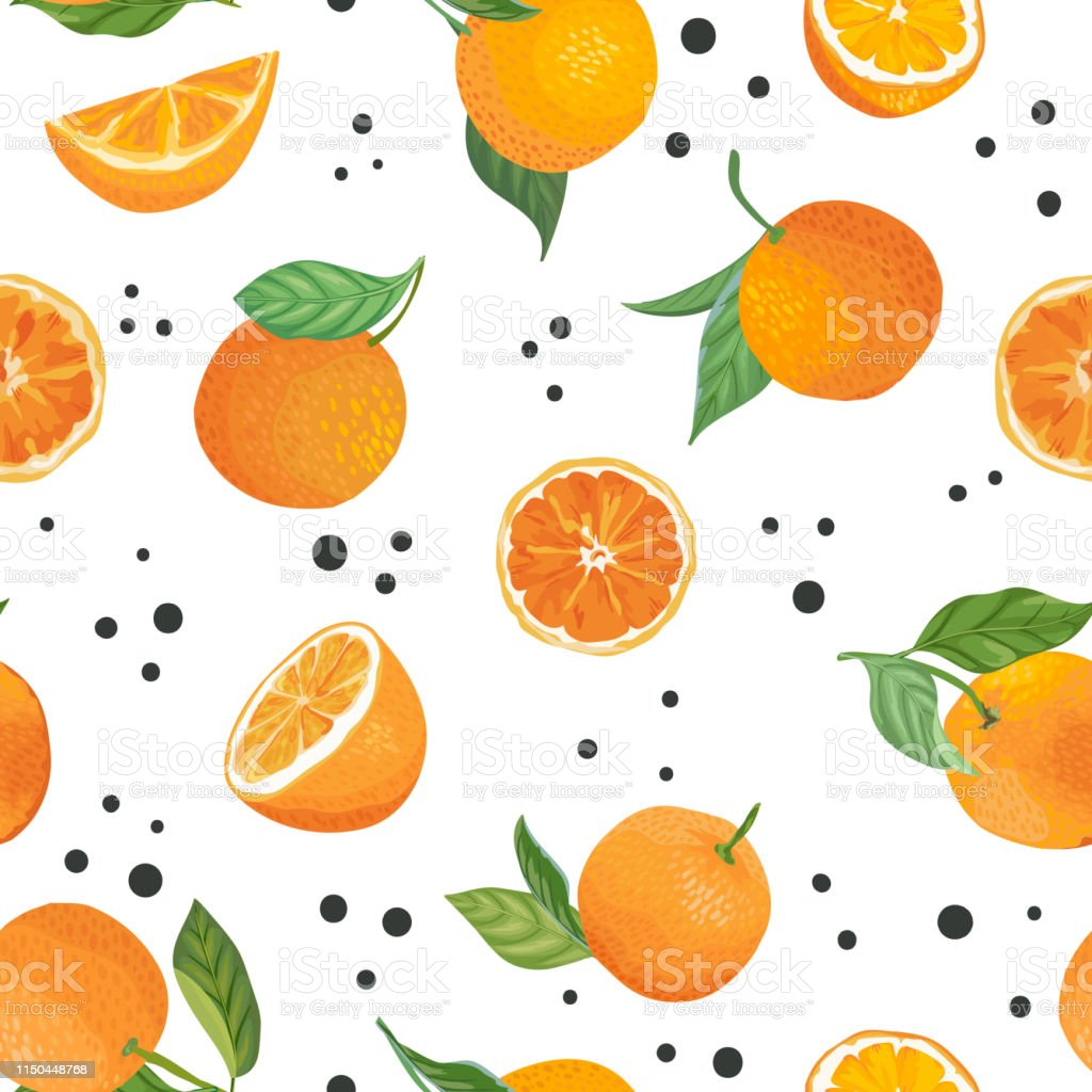 seamless orange pattern with tropic fruits leaves flowers background vector id1150448768