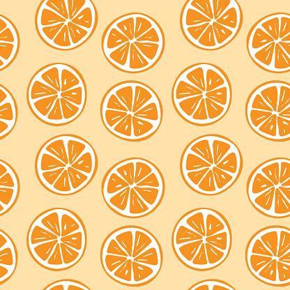 Seamless orange slice pattern illustration