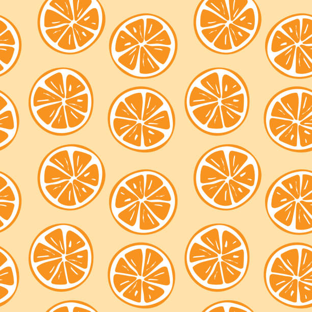 nahtlose orange scheibe muster illustration - orange stock-grafiken, -clipart, -cartoons und -symbole