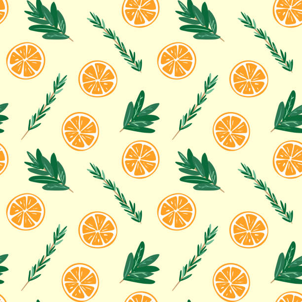 Seamless oranges and herbs pattern illustration vector art illustration