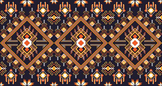 Seamless oriental geometric orange ethnic pattern aztec ornament for background or wallpaper. EP.1