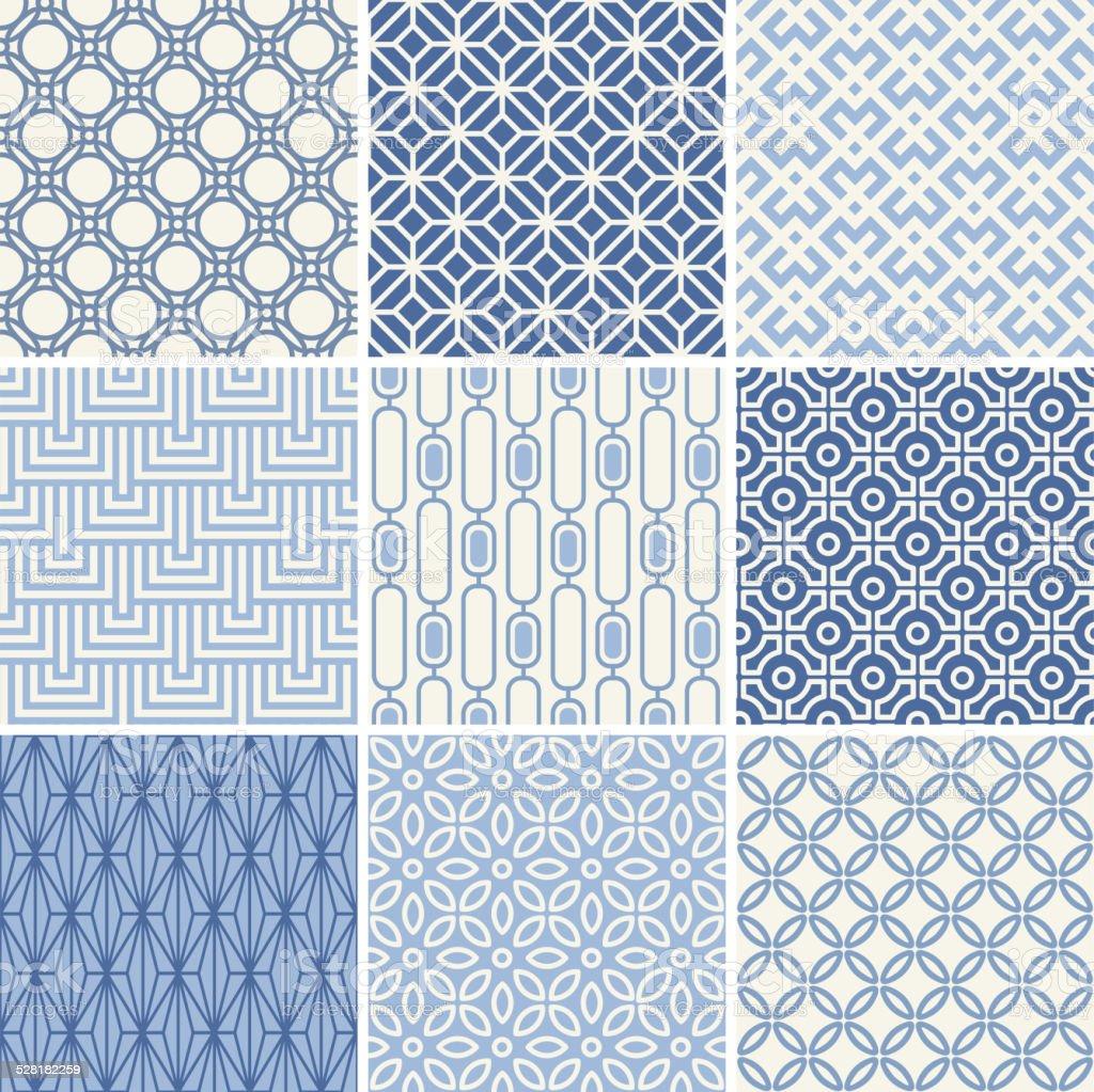 Seamless oriental geometric patterns set in blue vector art illustration