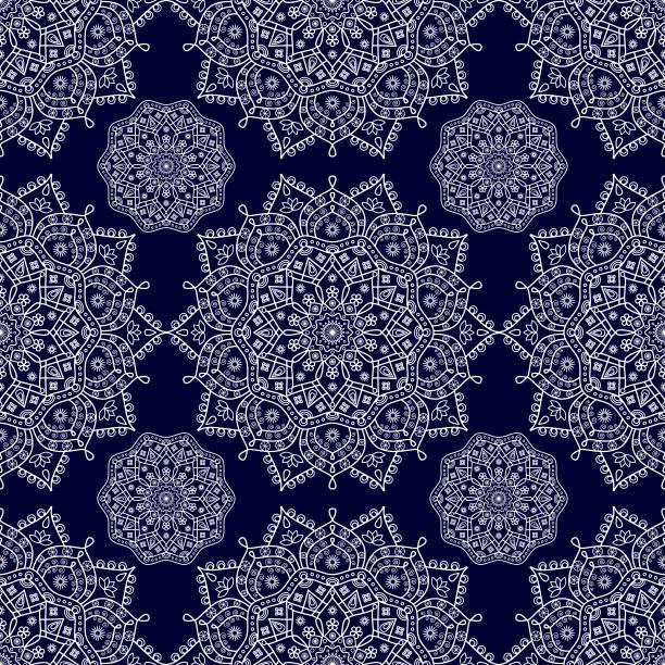 nahtlose orientalische medaillon muster in dunkelblau und weiß. - pashminas stock-grafiken, -clipart, -cartoons und -symbole