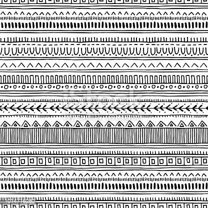 Seamless oriental pattern. Ethnic monochrome vector background.
