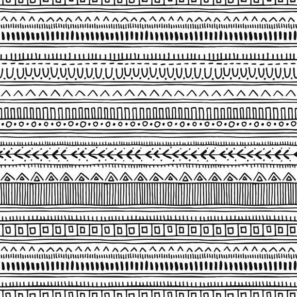 無縫的東方模式。種族單色向量背景。 - africa 幅插畫檔、美工圖案、卡通及圖標