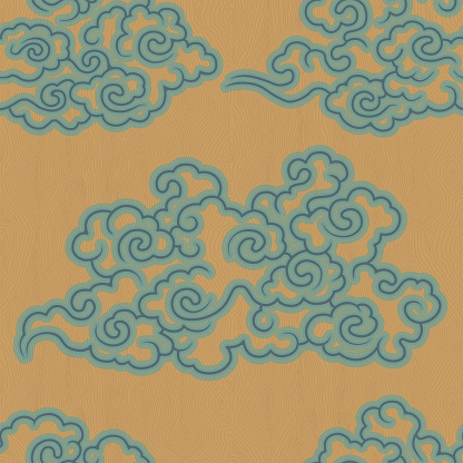 Seamless Oriental Pattern Screen With Clouds