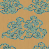 Vector illustration of a beautiful Seamless Oriental Pattern Screen With Clouds.