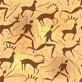 Seamless ornament African petroglyphic art old