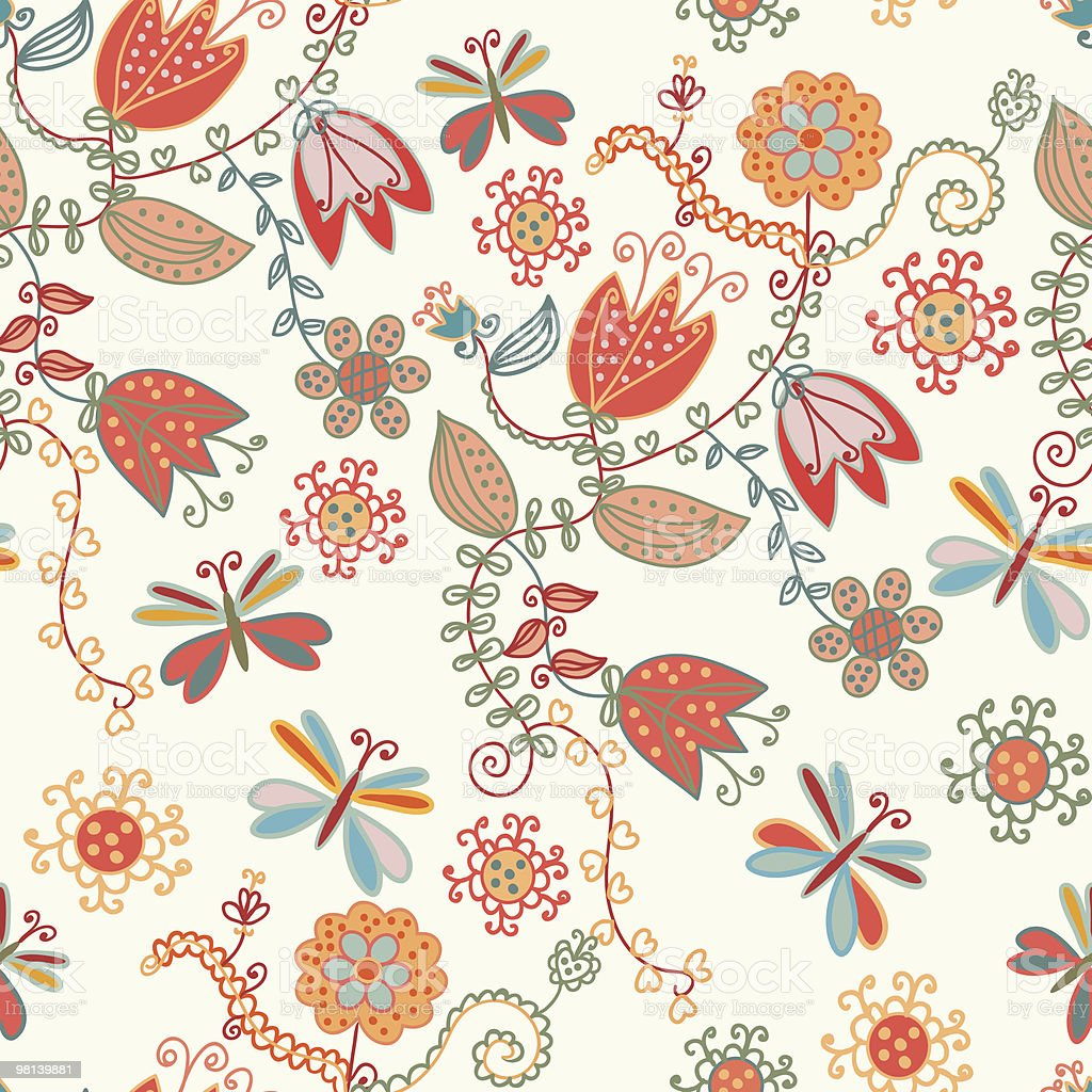 Seamless ornate pattern with flowers and dragonflies royalty-free seamless ornate pattern with flowers and dragonflies stock vector art & more images of backgrounds
