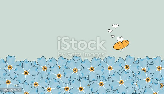 Seamless outline vector repeat border spring and summer pattern. Blue cute forget-me-not flowers on pastel blue sky background. Yellow isolated Bees in love are around