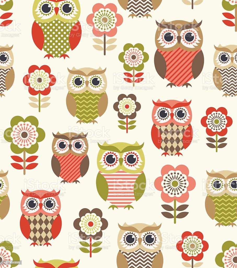 seamless owls cartoon background design stock vector art 481934998