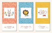 Vector set of trendy hand drawn seamless patterns and kid's design elements with bunny, lion, elephant and flowers. Good for children's cloths, package, wallpaper, web page background, surface textures, books covers, greeting cards and invitations.