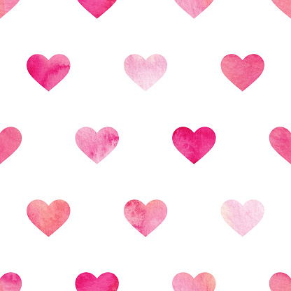 These realistic watercolour hearts repeat seamlessly so the vector can be tiled horizontally and vertically as many times as needed and scaled to any size without loss of quality. The detailed painted heart shapes have been isolated on a white background but the pattern would work as well on dark and colourful backgrounds if required. The EPS 10 file can be easily coloured to suit your needs making this an ideal background for your romantic design project.