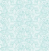 Vector seamless pattern, mint color fresh and unique paisley pattern with flowers and lotuses.