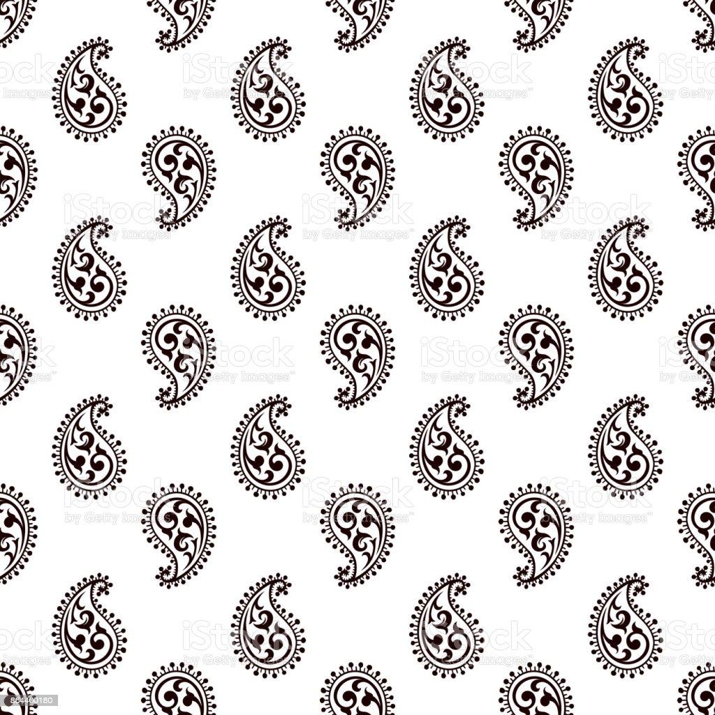 Seamless paisley pattern vector art illustration