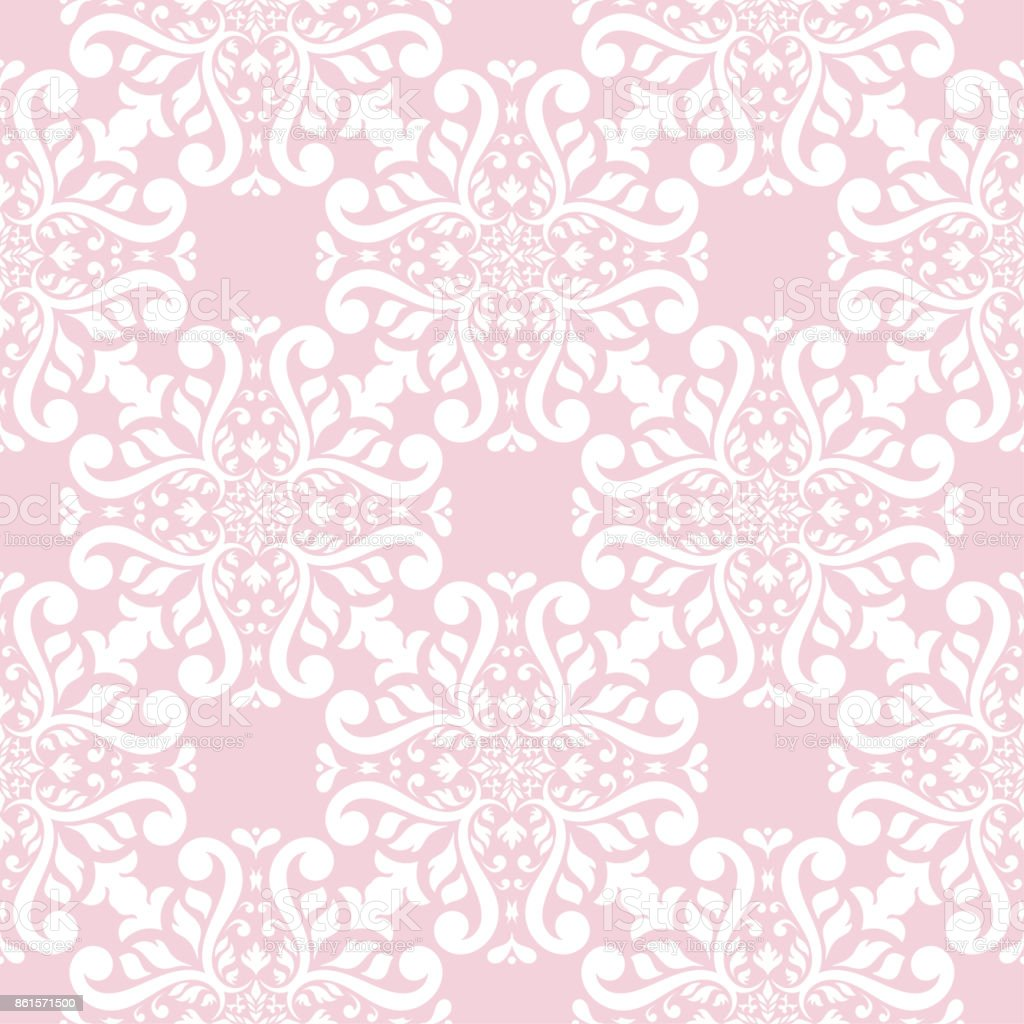Seamless pale pink pattern with white wallpaper ornaments royalty-free seamless pale pink pattern with